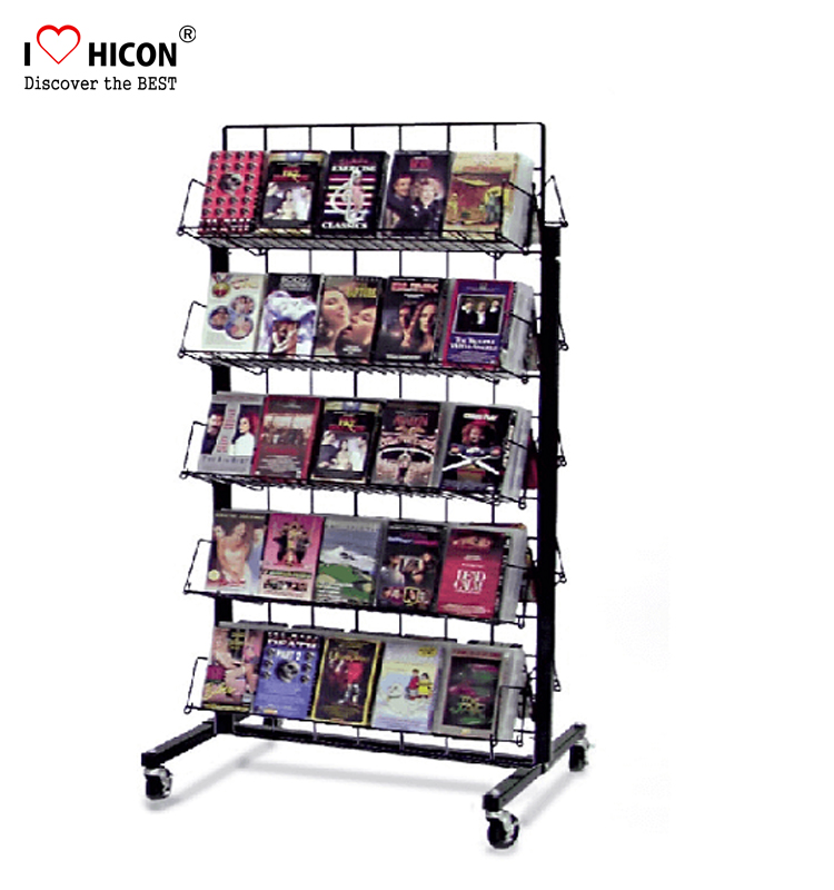 Double Sided 5-Layer Metal Wire Dvd Display Rack Movable, Iron Cd Dvd Display Rack Free Standing