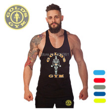 Men's Gym Tank Tops Muscle Stringer Bodybuilding Clothes Gold Powerhouse GASP NPC Fitness Wear 100% cotton high quality