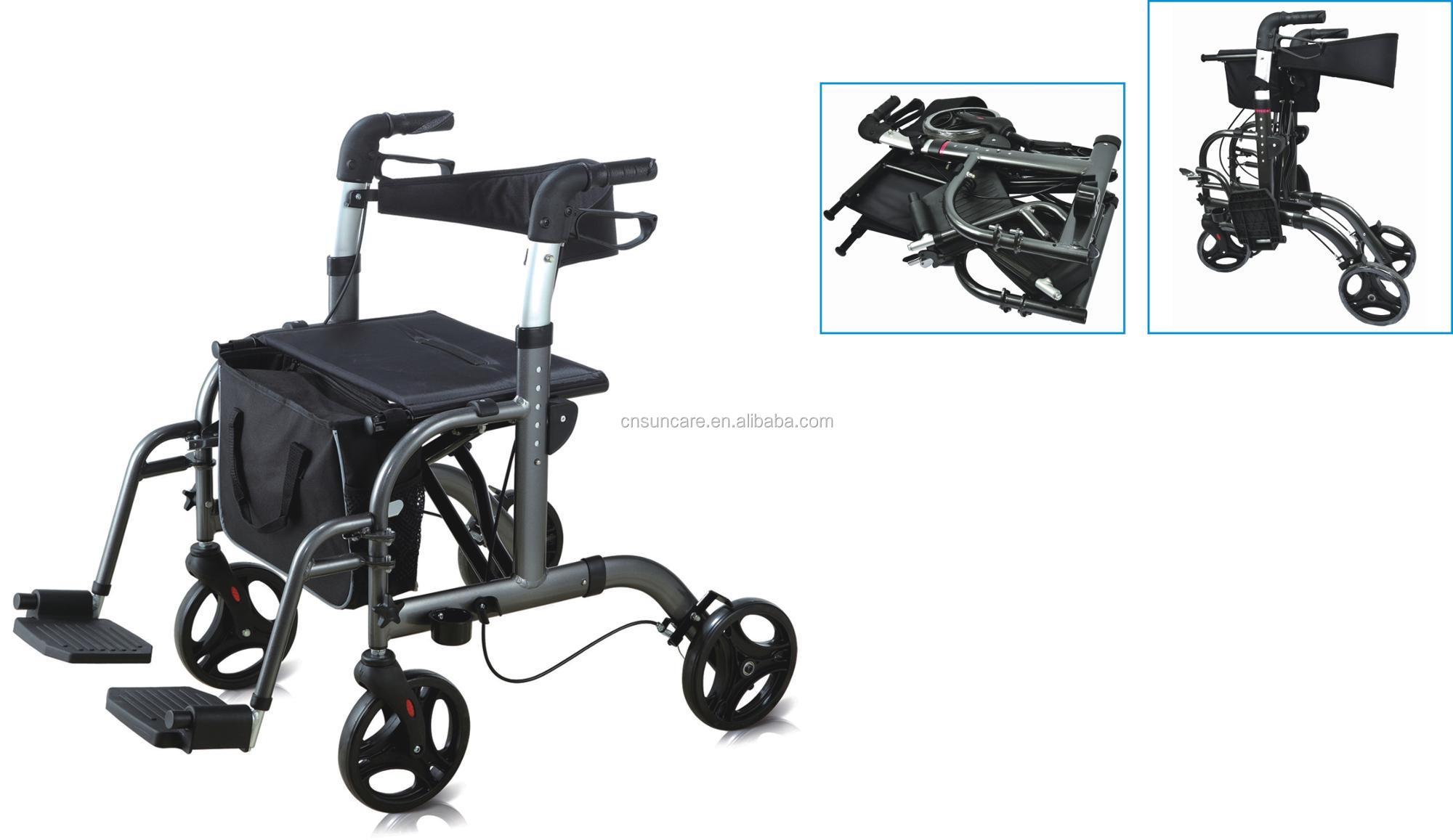 Sc5025c Andador De Aluminio Y Ruedas,Plegable,Con Reposapiés ...
