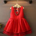 Hot 2016 Girls Dress Summer New Sleeveless Lace Princess Dresses Red High Quality Dress Summer Kids