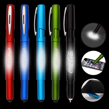 Gifts stylus phone holder pen laser engraving ball pen with light up logo