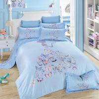 2016 New Luury Butterfly Tencel Cool Feeling 4-Pieces Queen King Size Bedding Sets Duvet Cover Flat Sheet Pillow Cases Blue