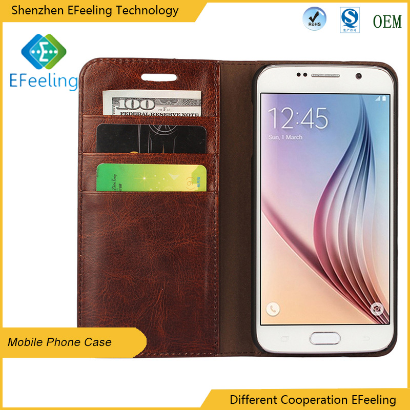 For Samsung S6 Edge Cell phone cover high quality PU leather case with card slot PU+ TPU inside