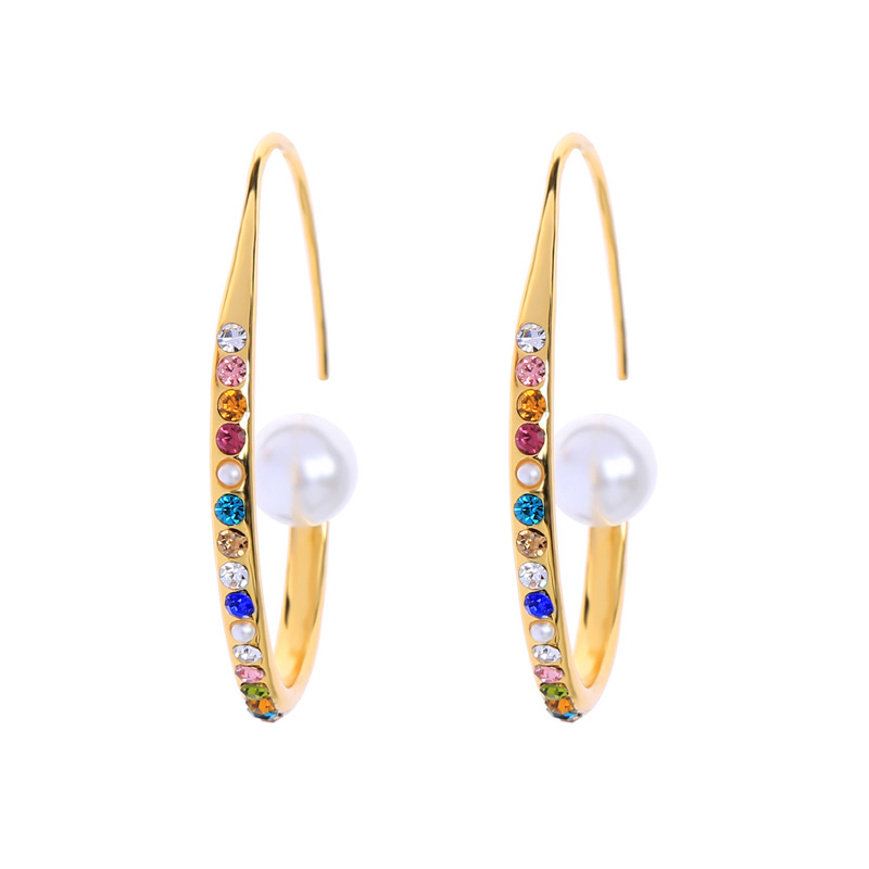 Me00177 Hot Sale Wholesale Free Shipping Women Jewelry Baroque Gold Pearl Multi Color Crystal Charm Hoop Earrings фото