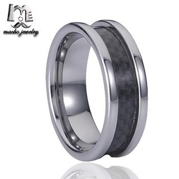 Grosshandel Fabrik Schwarz Carbon Fiber Inlay 10mm Wolfram Cock Ring