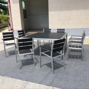 My lover Modern Garden Patio Aluminium Hotel square Beach Dinning set poly wood Restaurant Tables And Chairs Outdoor Furniture