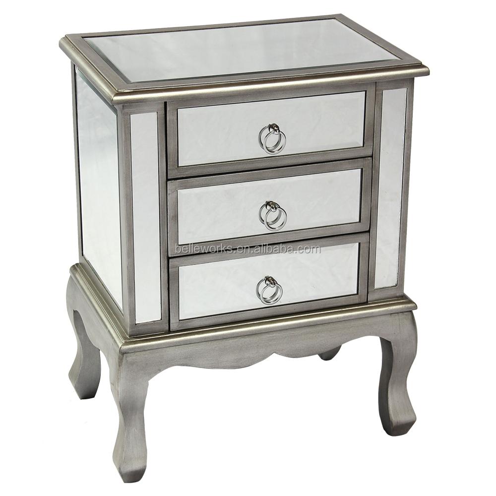 Mirrored nightstand hayworth silver mirror u vanity set for Mirror nightstand