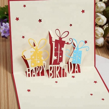 Custom Printed 3D Pop Up Happy Birthday Cards For Greeting