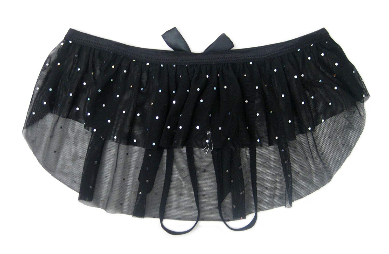 5995770b7136 Trixx Intimates Women's Sparkly Black Mesh Mini Skirt Open Crotch Thong