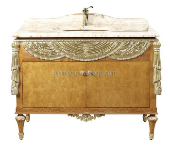Luxury Gold Painted Bathroom Cabinet With Marble Top, Exquisite Wood Carved  Bathroom Sanitary Ware/