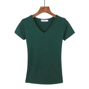 Qetesh Fashion Eco-Friendly Wholesale Plain V Neck T-Shirts