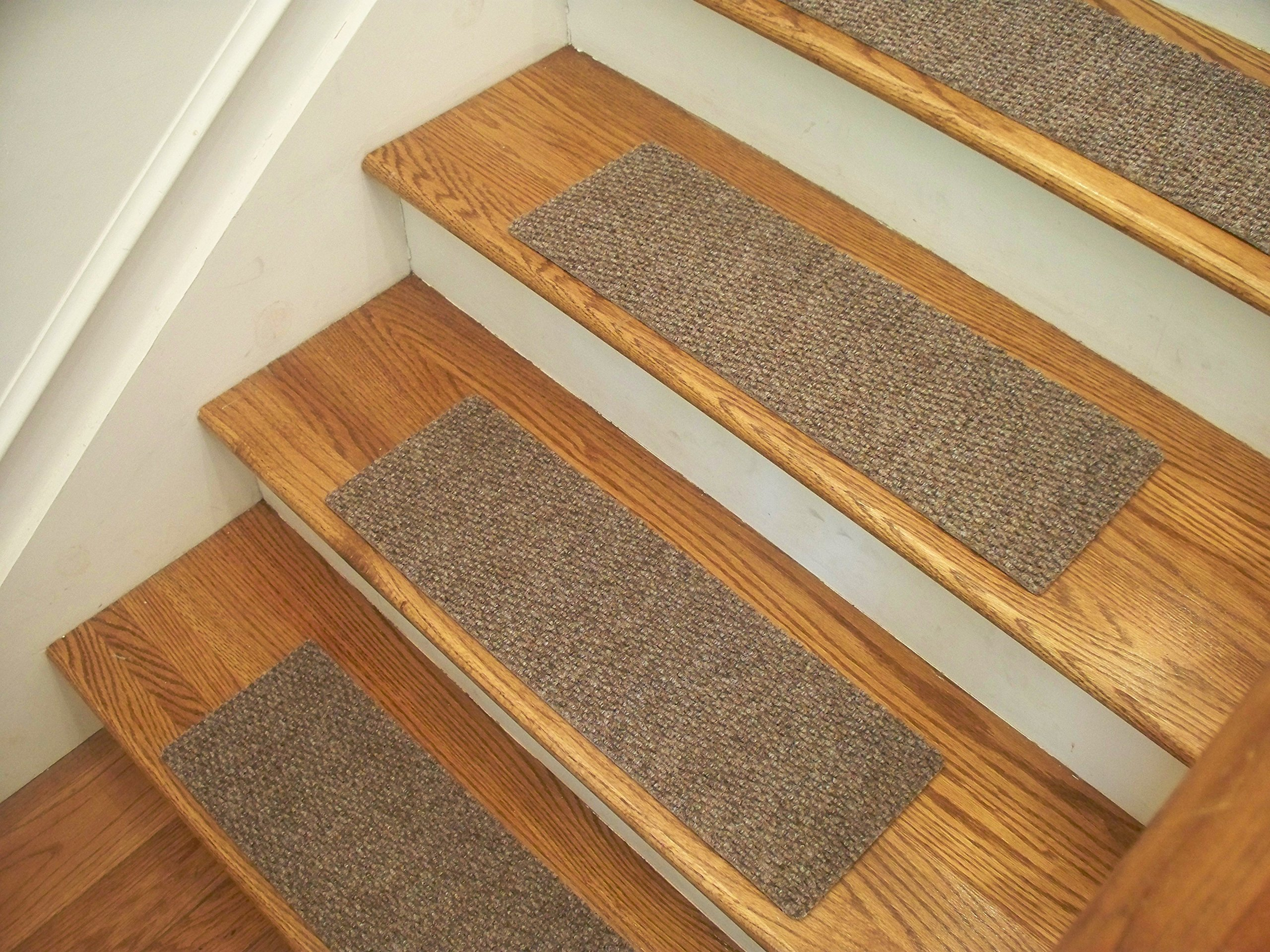 """Essential Carpet Stair Treads - Style: Berber - Color: Beige Gray - Size: 24"""" x 8"""" - Set of 15"""