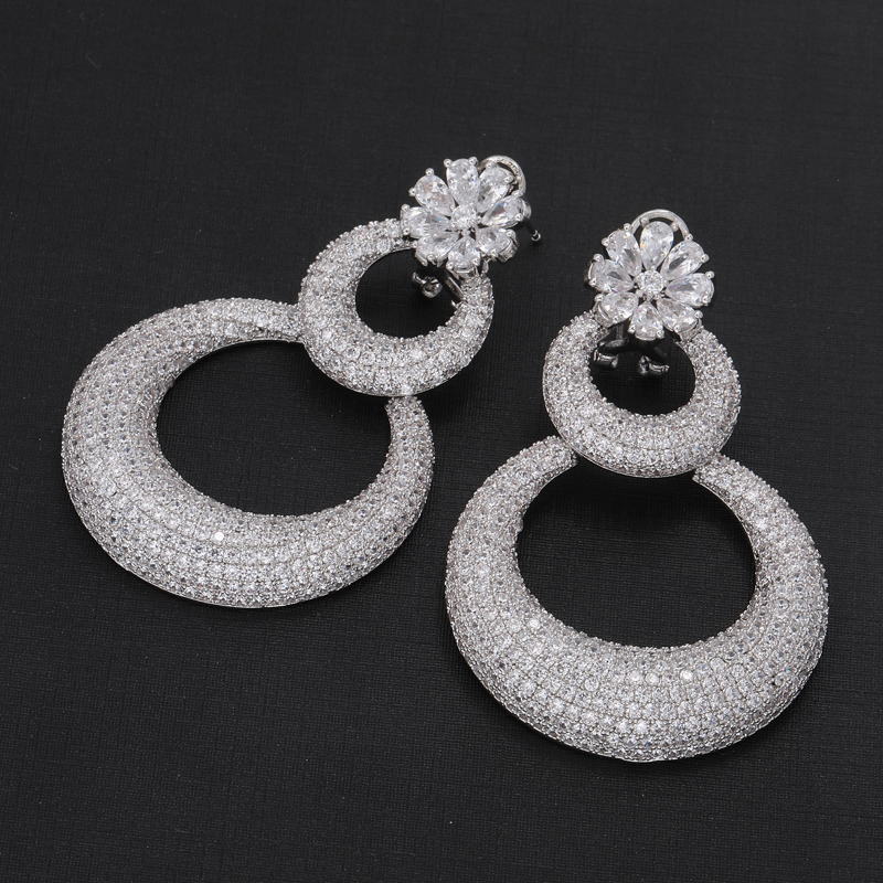 CZ Flower Pot Drop Earring Fashion Jewellery Bridal Earring for Party