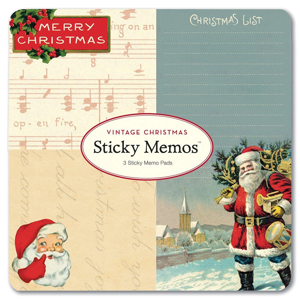 Cavallini Papers Sticky Memo Pads Vintage Chritmas, 3 Sticky Memo Pads