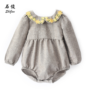 Shijun Baby Clothes 2019 Long Sleeve Linen Peter Pan Collar Rompers for Girls