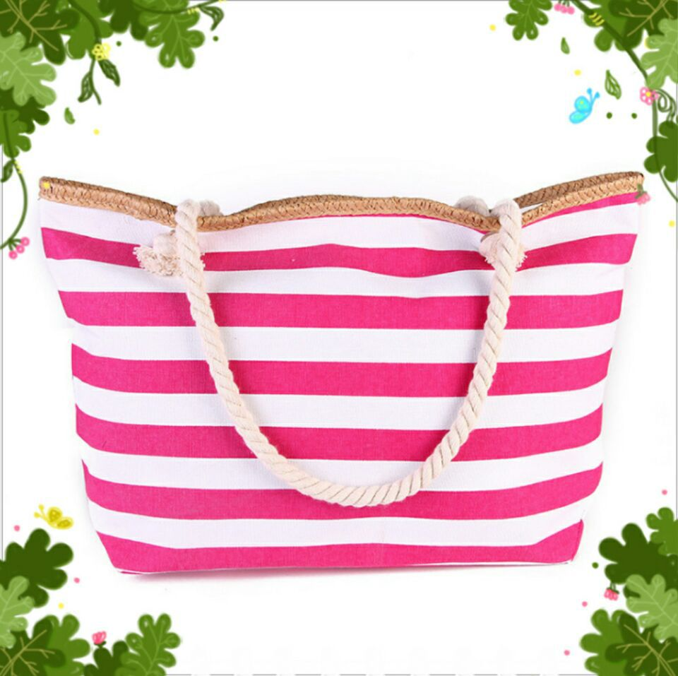 Canvas bag 2018 female striped sen is shopping bags of environmental protection bags of beach bags