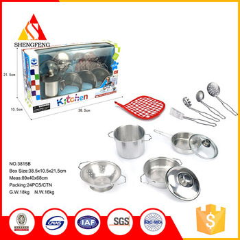 Funny kitchen toys stainless steel cooking set for kids for Funny kitchen set