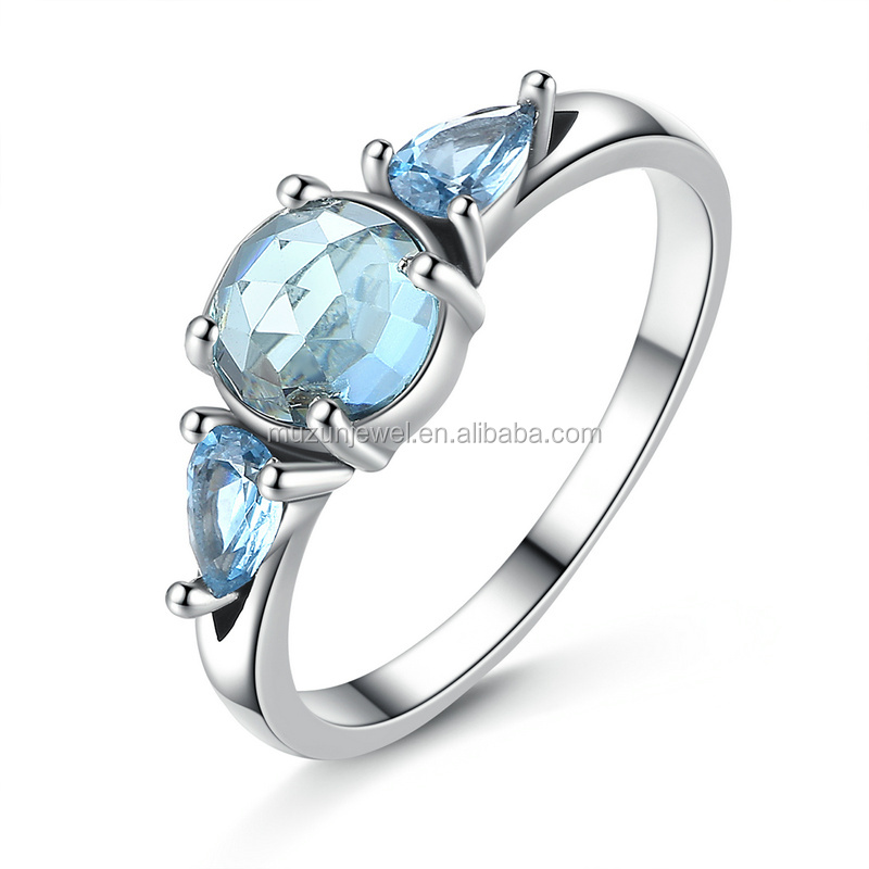 New Frost, Moonlight Sky-Blue Crystal Jewelry Gift 925 Sterling Silver Ring for Women