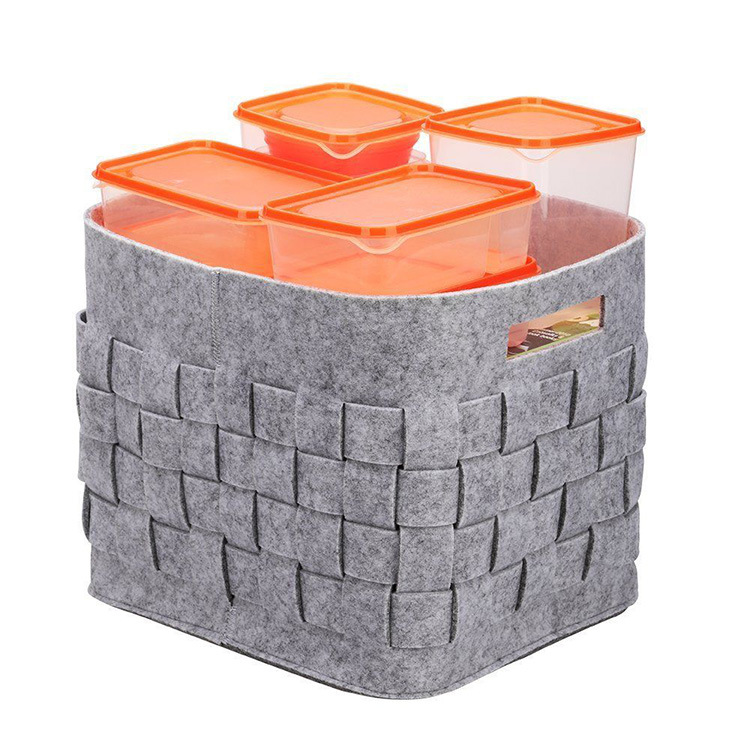 OEM High Quality Foldable Handmade Rectangular Hangjing Felt <strong>Storage</strong> <strong>Basket</strong>