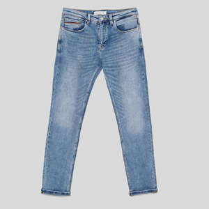 Plain Dyed Slim Fit Embroidery Logo Custom Design Stonewashed Blue Denim Cotton Jeans Pants Cheap Men Guangzhou