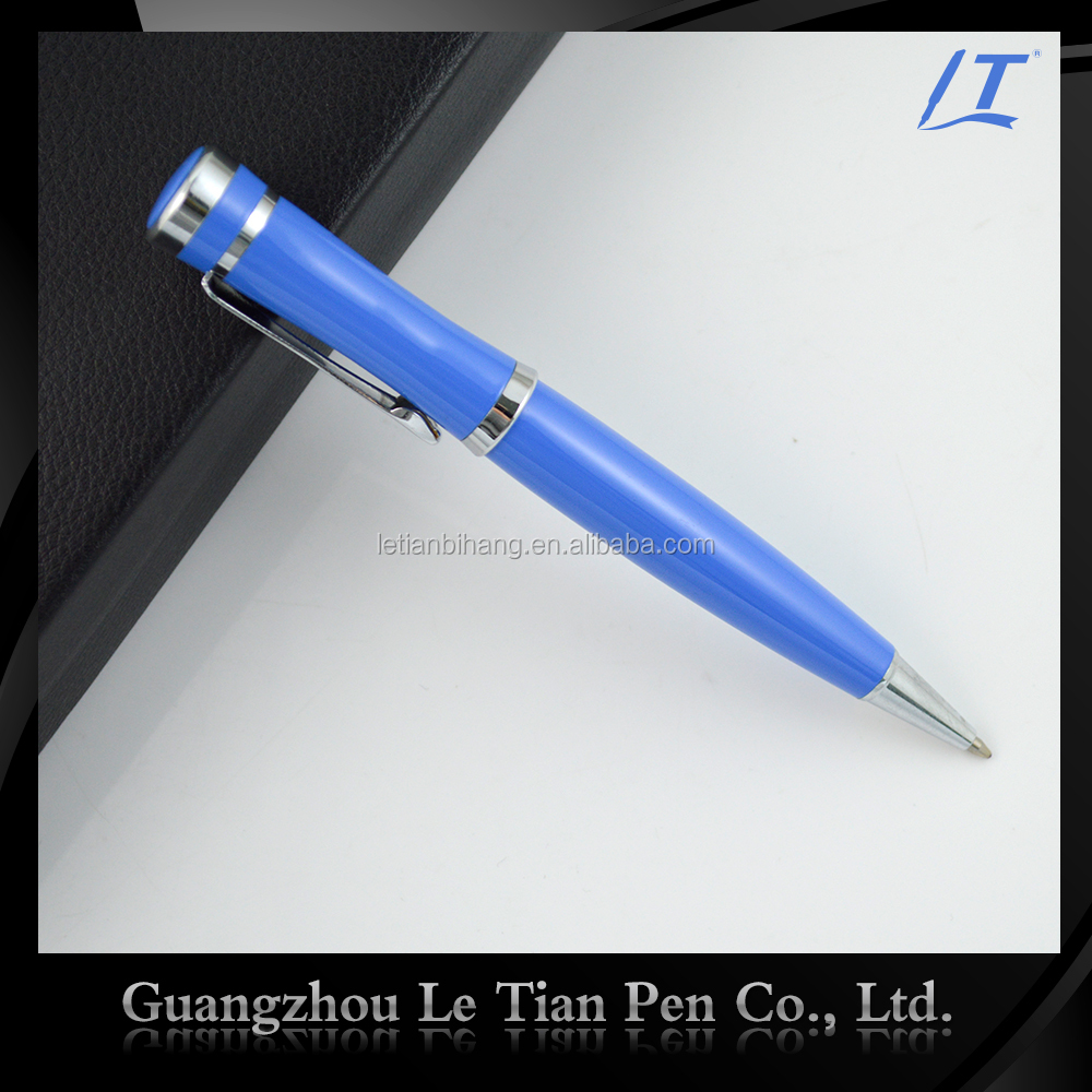 Navy Blue/Pear White Color Metal Promotional Twist Ballpoint Pen For Christmas Gifts