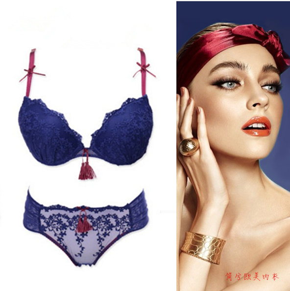 bde8b888aad New 2016 lace embroidery sexy push up bra summer thick thin small bra  panties adjustable female