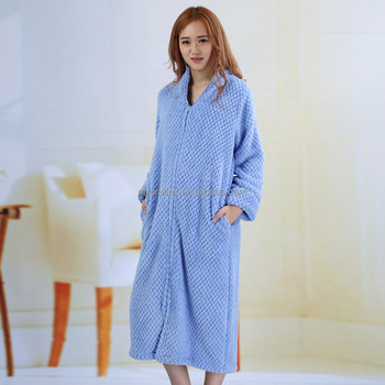 8e477dfc0b Solid Zip-front Long Robe