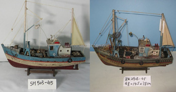 Antique Wooden Fishing Boat Model With Sail2 Sets 45x145x38cmfishing Crab Ship Vessel Modelold Replic Sailboat Model Buy Wooden Model