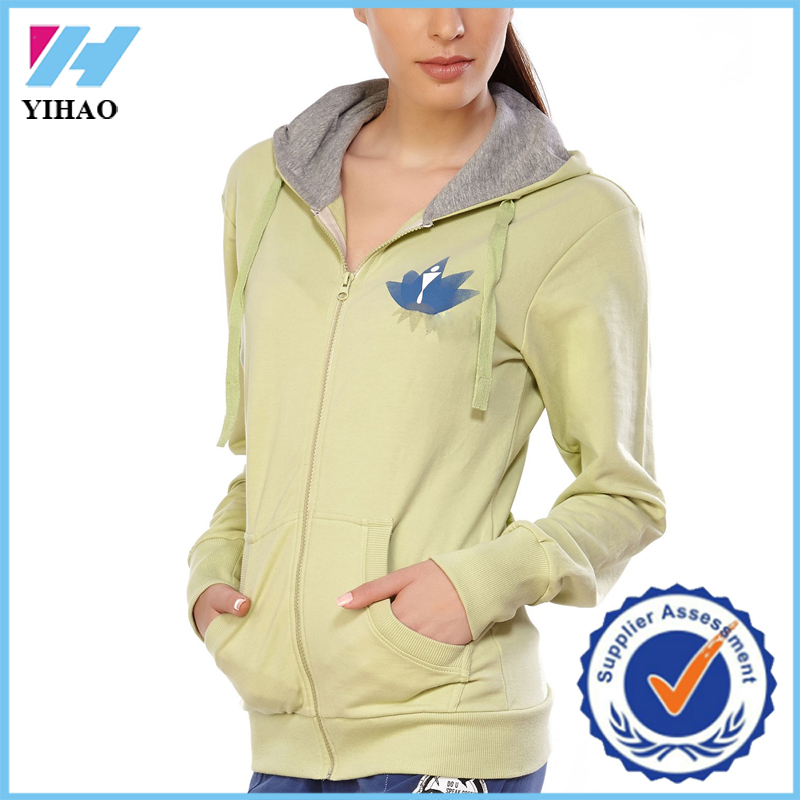 2015 New Stylish women yoga hoodies cheap printed autumn hoodies and sweatshirt Yihao custom