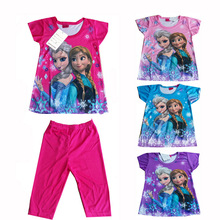 Girl's Short sleeve Pajamas set Anna and Elsa Princess Sleepwear Children Clothes Red Blue Purple Pink Character Clothes WI30003