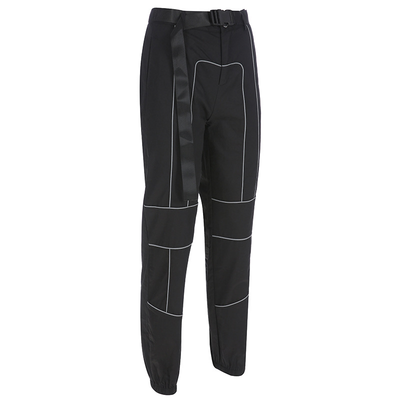spring loose design lady reflective pants women sexy club cargo work tracksuit