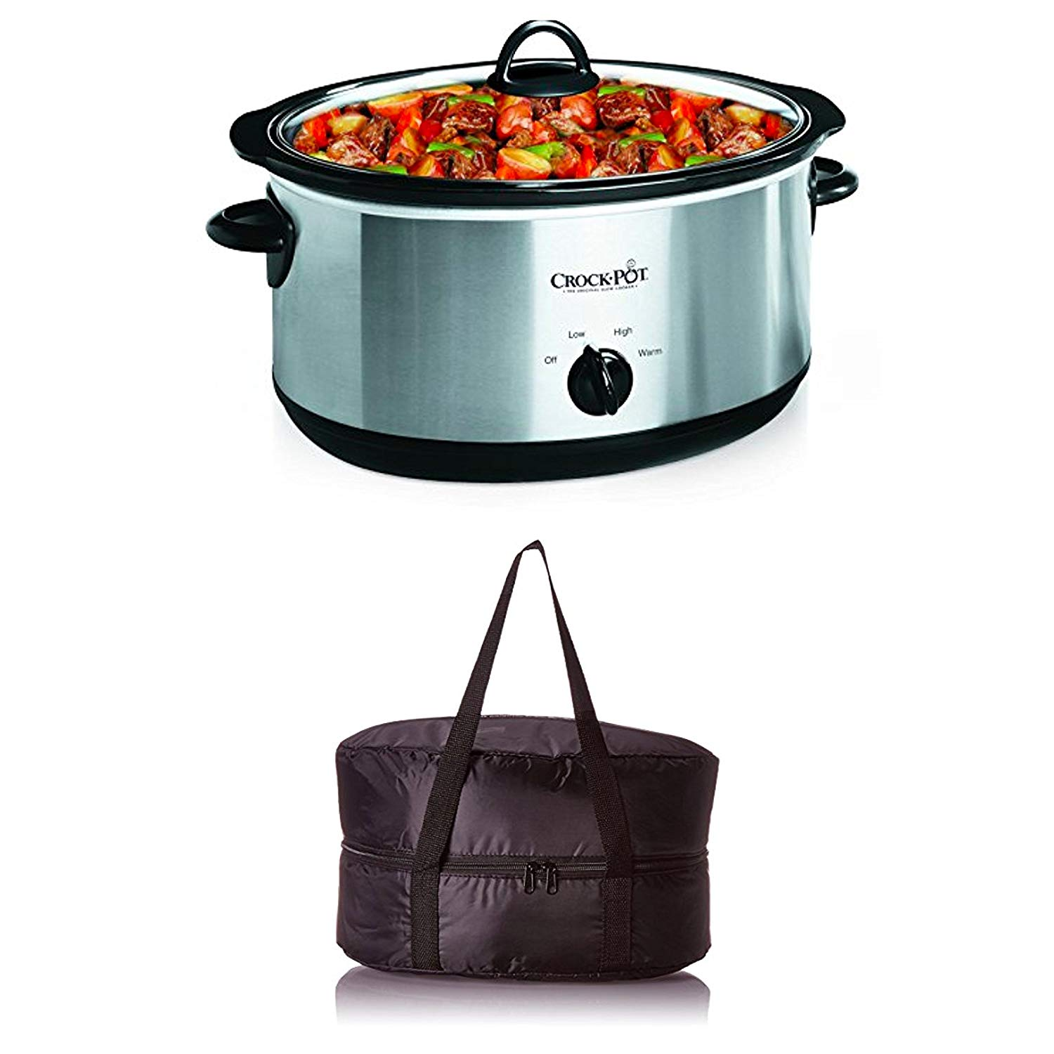 Bundle Includes 2 Items - Crock-Pot 7-Quart Oval Manual Slow Cooker, Stainless Steel (SCV700SS) and Crock-Pot Travel Bag for 7-Quart Slow Cookers, Black