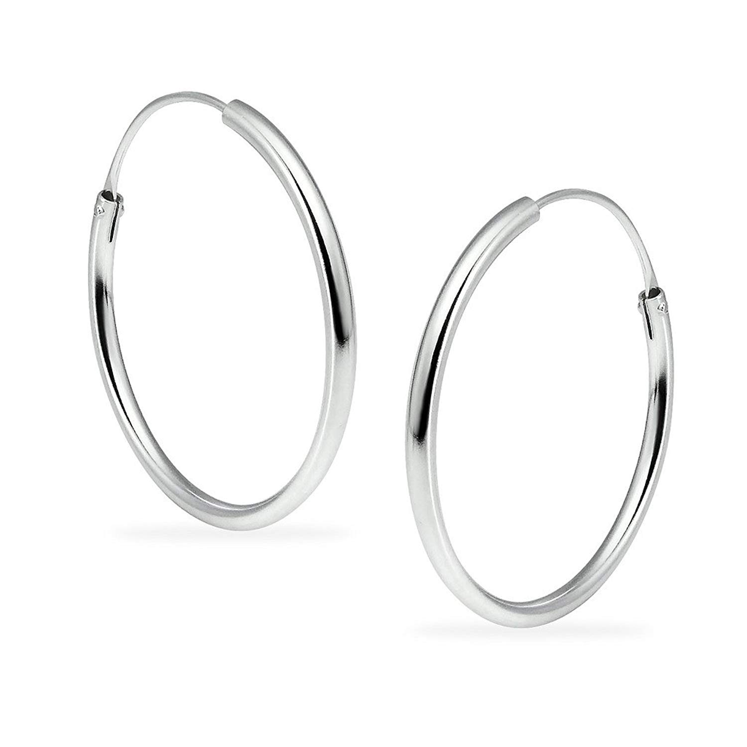 Get Quotations Sterling Silver Lightweight Circle Endless Hoop Earrings Women S 1 2mm X 24mm Orted Colors