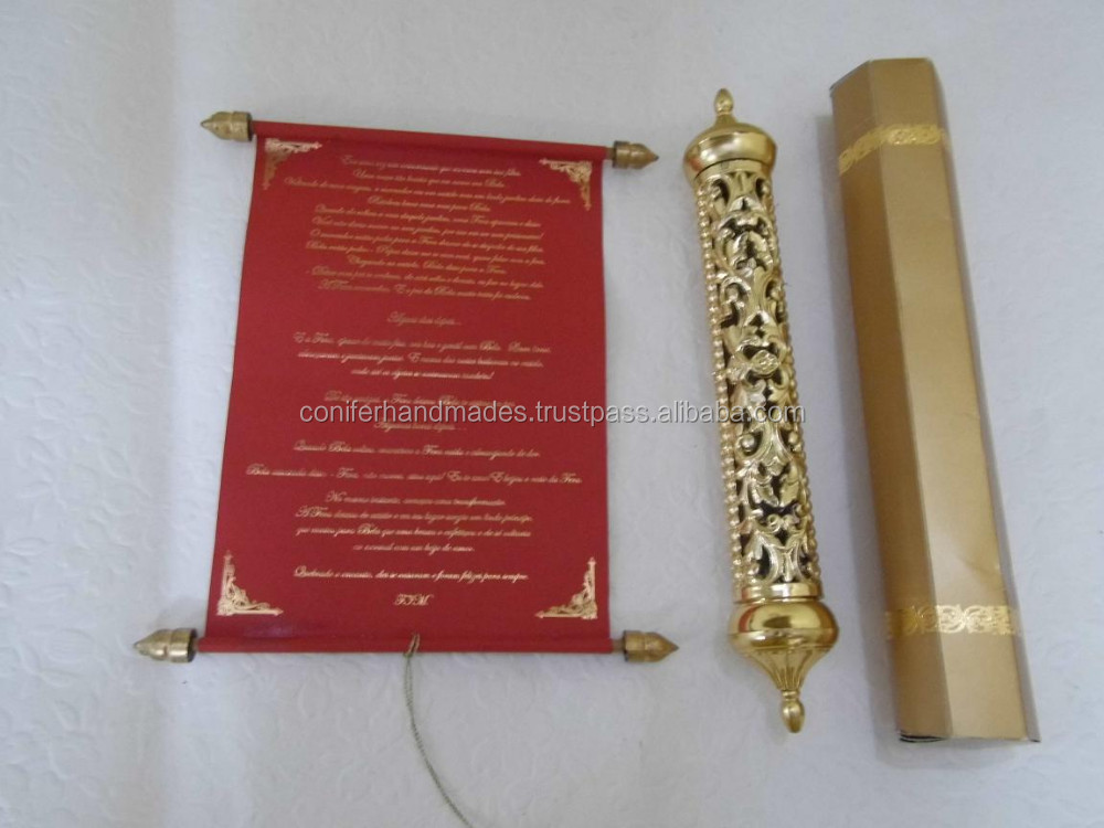 Royal Scroll Wedding Invitations With Engraved Gold Boxes For