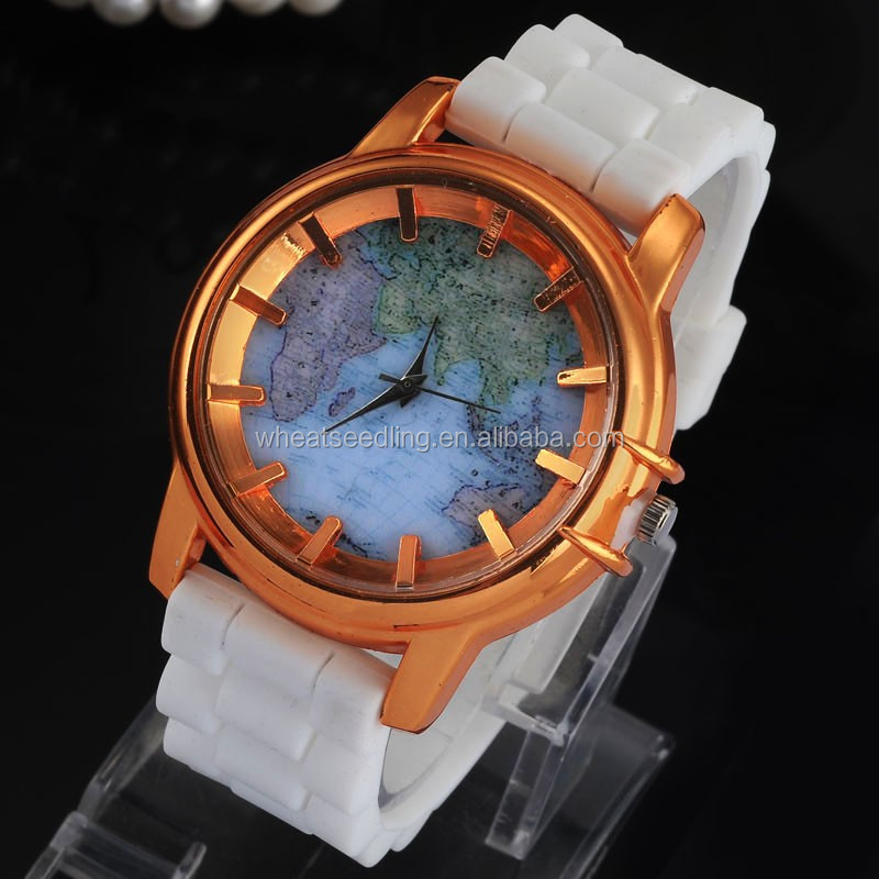 2015 new candy jelly 9 colors silicone worlds map watch