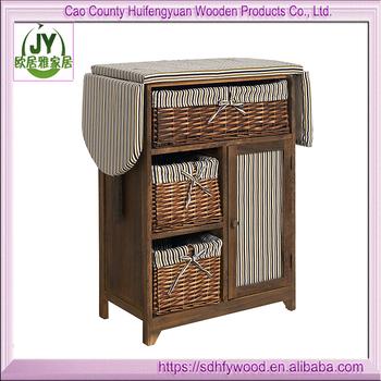 Foldable Wood Shelf Cabinet Ironing Board With Storage Wicker Basket Drawers