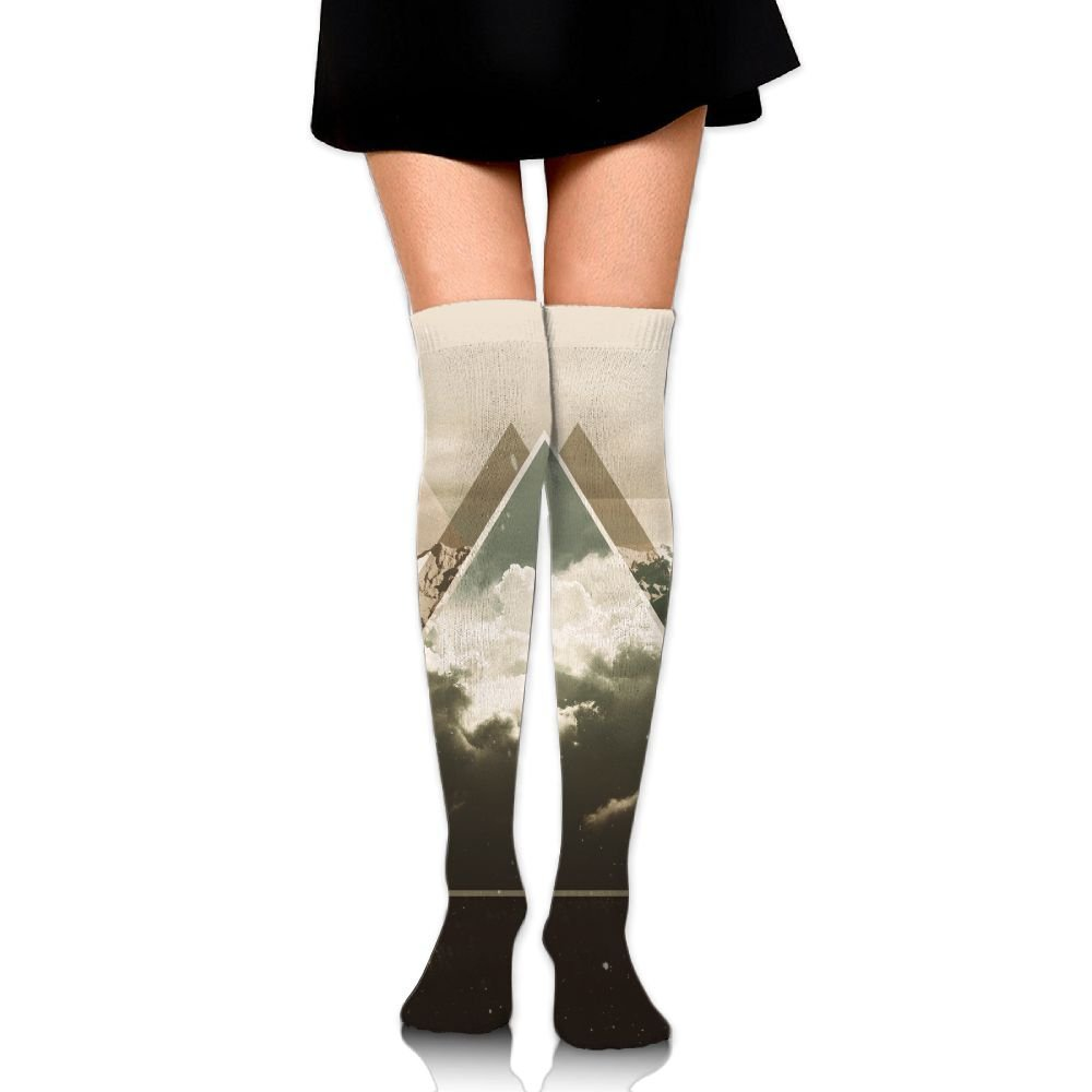 Snow Mountain Triangle High Socks Knee Socks Athletic Socks Fit Boosts Casual Solid & Fashion Socks For Girls & Womens