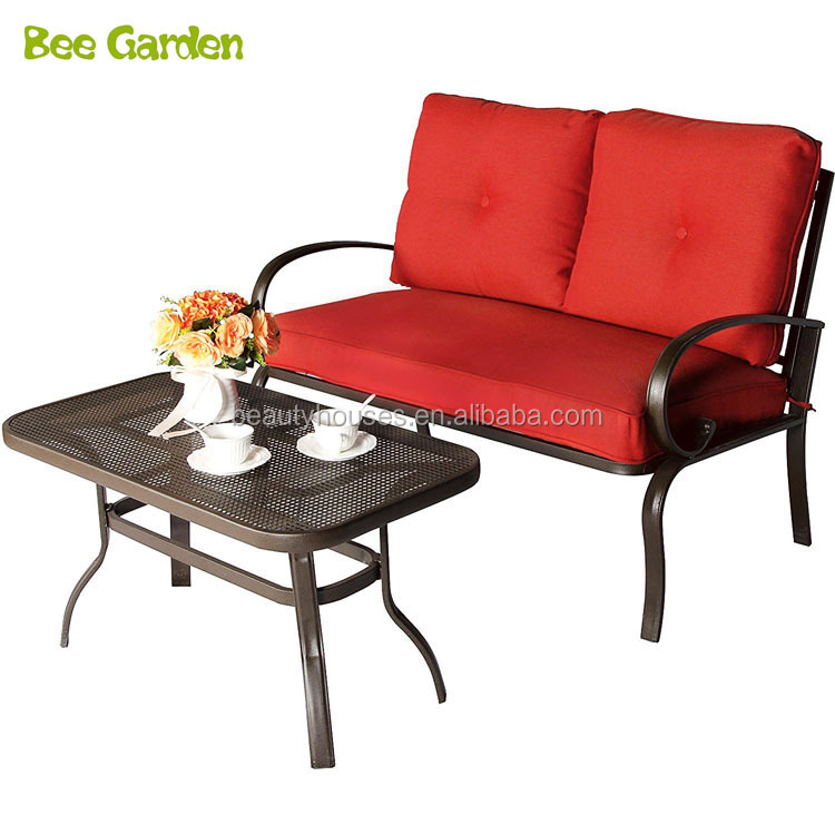 Fine 2 Pcs Furniture Set Metal Outdoor Garden Loveseat Bench Sofa With Cushions Buy Loveseat Sofa Metal Loveseat Outdoor Loveseat Product On Alibaba Com Andrewgaddart Wooden Chair Designs For Living Room Andrewgaddartcom