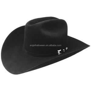 China supplier customize logo hat black leather mexican cowboy hats NC2250