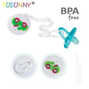 Newborn Baby Soother Holder silicone baby kids Pacifier with Chain Clip