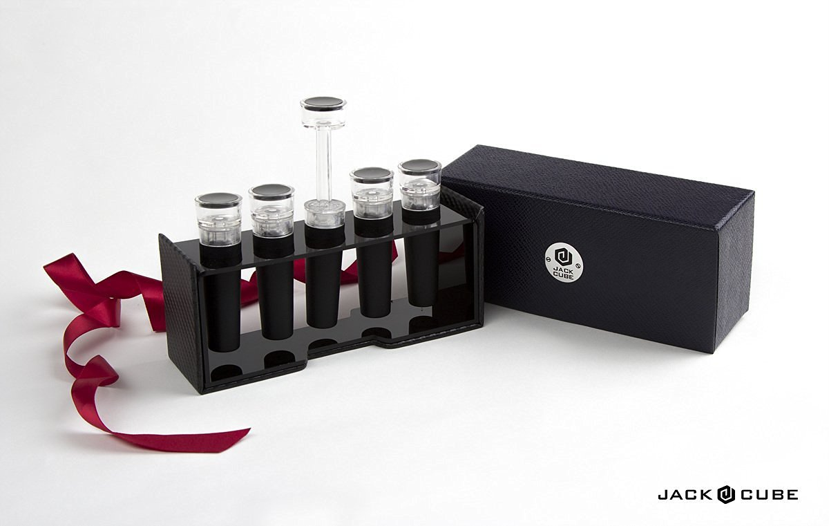 e16496bb136 Get Quotations · Jack Cube Set of 5 Vacuum Wine Stoppers Saver Air Pump  Wine Bottle Cork Sealer Favors