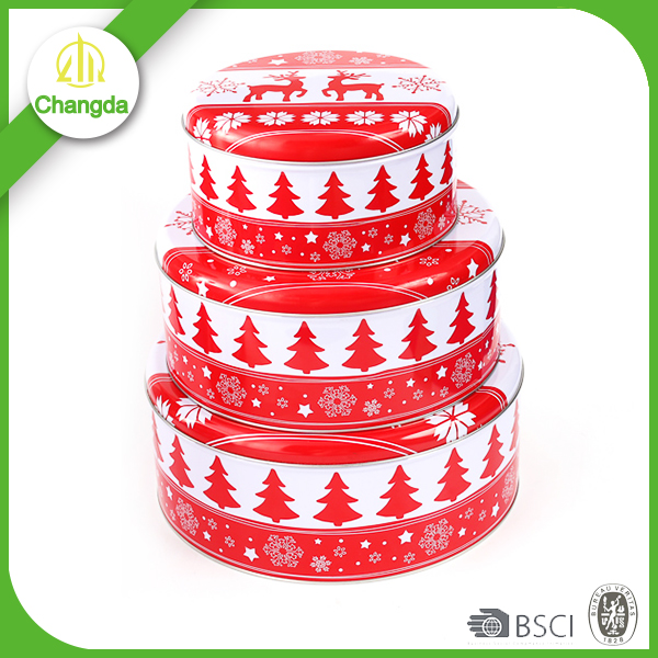 Christmas tall round tin can for packing tea