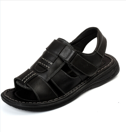 2015 Men Sandals Slippers Genuine Leather Outdoor Casual