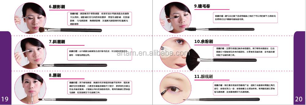 Le plus nouveau ensemble de pinceaux de maquillage cosmétique de cheveux synthétiques de poignée de peinture en caoutchouc de 7 pièces