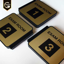 Restroom signs, exam room signs and every day way finding signs with easy-mount metal wall bracket and black frame