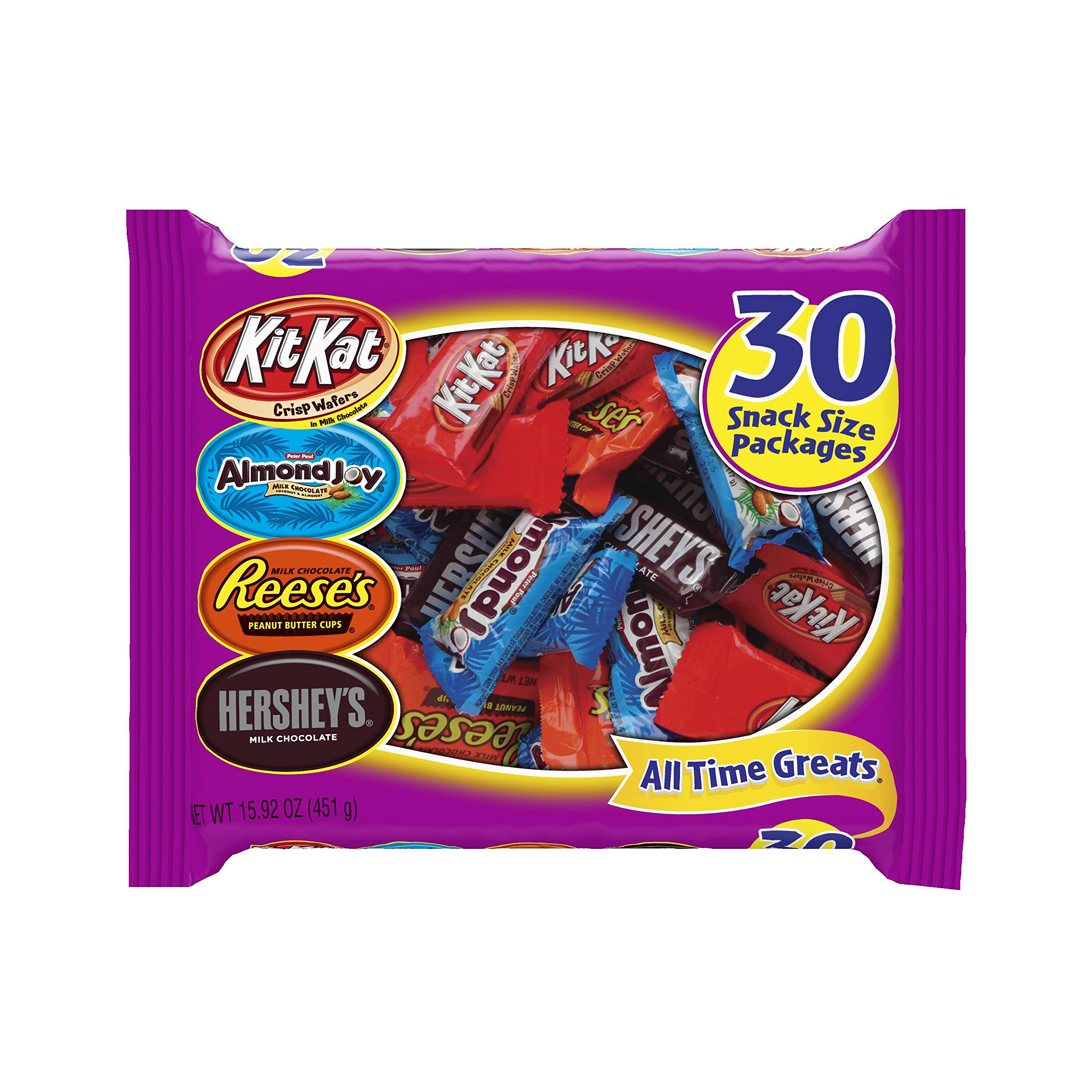 HERSHEY'S Chocolate Candy Assortment (Hershey's, Reese's, Almond Joy, Kit Kat), Snack Size, 30 Count
