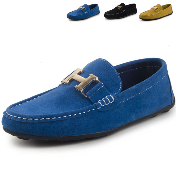 2015 H Buckle Loafers Men Blue Suede Leather Casual Men Mocassin Flat Driving Shoes Zapatos Hombre Slip on mocassin mens
