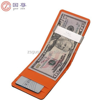 China supplier New Faux Leather Metal Money Clip Mens Wallets Purse Black/Orange men's leather wallet money clip