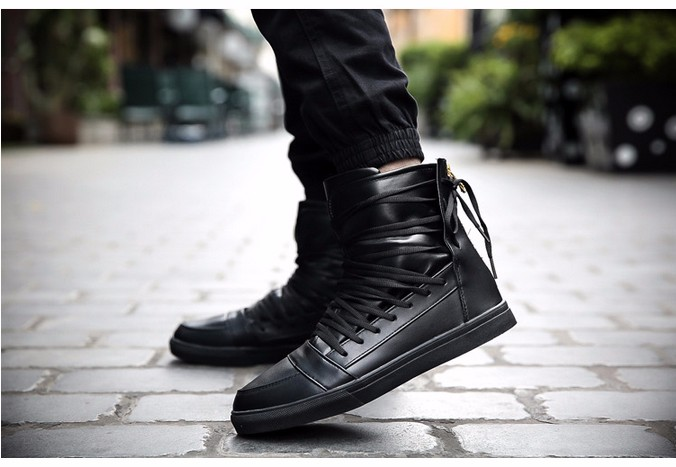 b218d490d69 New Men Casual Shoes Top Quality Pu Leather Men High Top Shoes Fashion Lace  Up Breathable Hip Hop Shoes Men Red Black White
