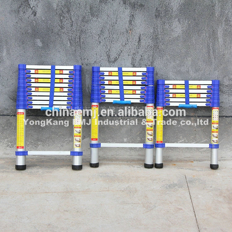 Top Quality Insulation silver aluminium+blue pastic parts 2m telescopic ladder